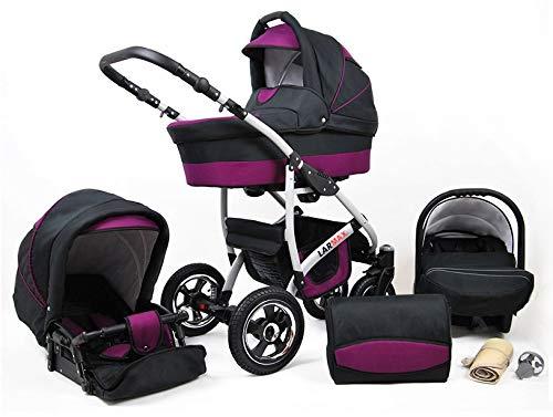 Lux4Kids Kinderwagen 3 in 1 Kombi Komplettset mit Autositz Isofix 2in1 Babywanne Babyschale Buggy Buggy Baby Larmax Schwarz & Lila 2in1 ohne Babyschale