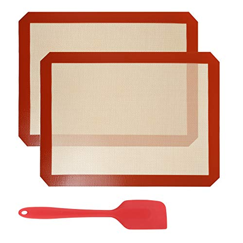 Gwhole - 2 tappetini da Cottura in Silicone 40 x 30 cm, 1 spatola da 27 cm, Tappetino Antiaderente per Cottura e Pasticceria