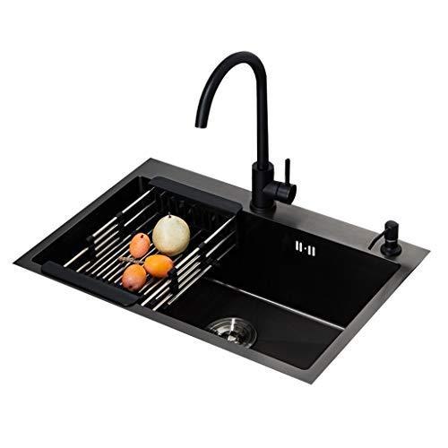 Keukenaccessoires Black Nano single sleuf-spoelbak Black Sink Set 304 roestvrij staal wastafel dikke wastafel (met ronde kraan) 58x43cm