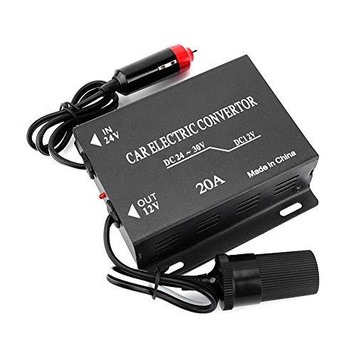 DEWIN Stromrichter Auto LKW Wechselrichter Spannungsreduzierer - 20A Stromrichter Abwärtstransformator 24V bis 12V Zigarettenanzündertyp