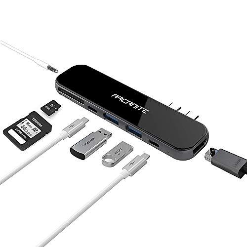 ARCANITE Premium USB-C-Hub, 100W Leistung, 4K x 2K HDMI, 2 USB 3.0 Anschlüsse Typ A, microSD- und SD-Kartenleser, Gehäuse aus Aluminium und Glas, Entwickelt für Macbook Pro