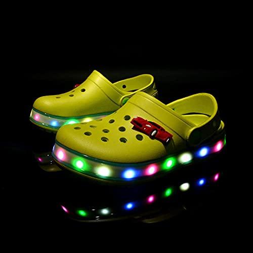 Kirin-1 Män flip-flops storlek 9, barntofflor storlek 3, LED-lampor nya tofflor strandskor ihåliga baby skor_gul_34 skor långa 20,5 cm