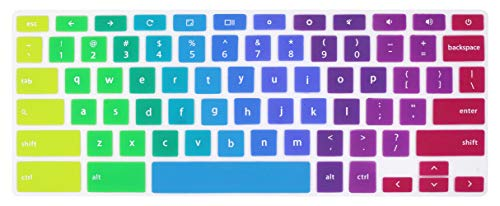 UHamn Keyboard Skin Compatible for Dell Chromebook 11 C3181 P22T 3120 3180 3181 & Dell Chromebook 13 3380 (Not Compatible for Dell Chromebook 14 C7486 & Dell 11 inch 3180 Windows Laptop) - Rainbow