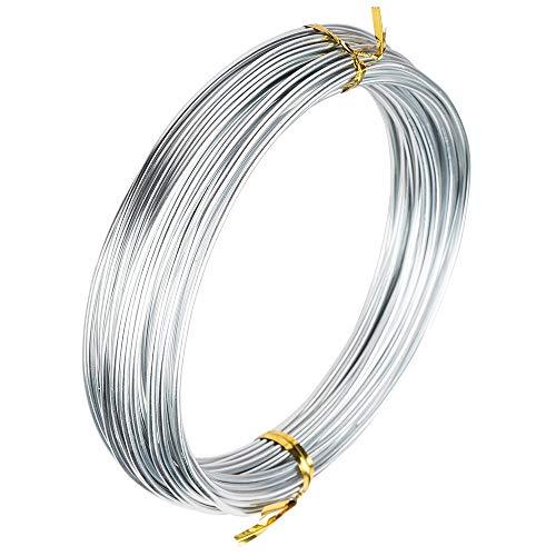 Ideen mit Herz Alambre para joyas para manualidades | Alambre de aluminio | Alambre para manualidades | Diámetro de 2 mm | 10 m de largo (plata)