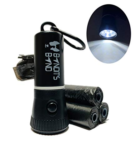 Bandit's Band Premium Dog Poop Bag Dispenser Built in LED Flashlight - Keep Neighborhood Clean and See at Night - 4 Rolls of Bags, Batteries, Clip for Leash Included - Perfect for Night/EarlyAM Walks