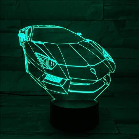 Luz de noche colorida lámpara de escritorio 3D de coche multicolor cambio de color acrílico visión de funcionamiento USB luz de noche LED cambio de color decoración fresca led