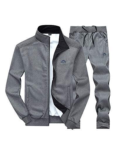 Sweat-Shirt Hommes Automne Décontracté Manche Longue Survêtement 2 Pièces Sport Veste Pantalon Gris foncé XXL