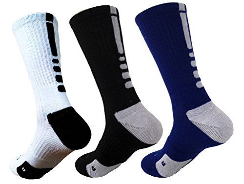 Hxst Dri-fit Cushion Basketball Crew Socks - 3 Pair Pack (3 Colors Mixed)