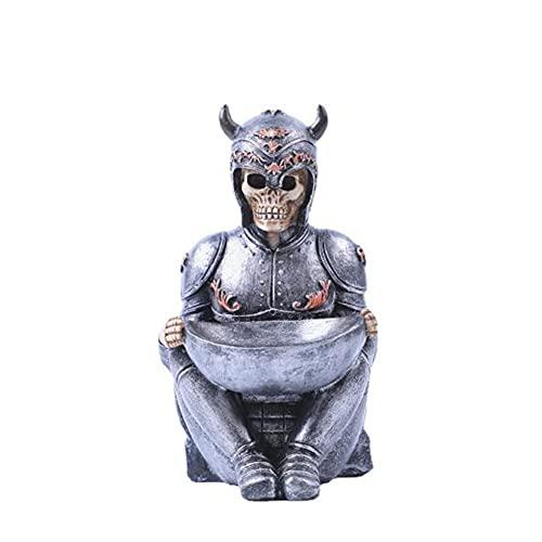 Liyabber Décoration tête de Mort, Viking Guerrier Squelette Crâne Bijoux Porte-Anneau Support,avec Plateau Porte-bibelot Organisateur Chandelier Bureau Ornement Maison
