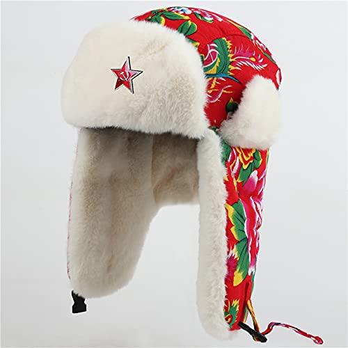LIUZIXI Invierno Rusia Ushanka Bomber Hat - Mujer Cálido Estampado De Flores Rojas Warm Trapper Snow Cap - Gorro De Orejeras con Insignia del Ejército Soviético Gorro De Piel Sintética para Esqu