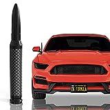 "CK FORMULA 50 Cal Bullet Antenna for Cars - Carbon Fiber 5.5"" Black Automotive Antenna Replacement, AM/FM Radio Compatibility, Solid 6061 Aluminum Grading, Anti Theft Design, Car Wash Safe, 1 Piece"