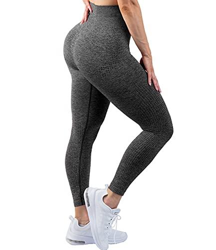 COMFREE Leggings Mujer Mallas Deportivos Leggins Push Up Leguins Pantalones Yoga Legins Deporte Fitness Pantalón Verano Cintura Alta Control de Barriga EláSticos Suaves Gris S
