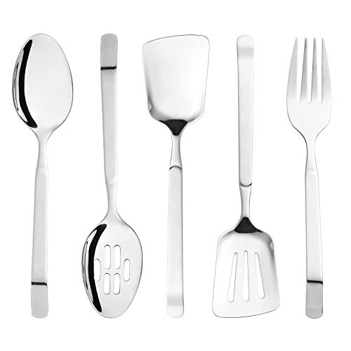 Serving Utensils Set Stainless Steel - 5-Piece Modern Silverware Serving Sets For Entertaining And Parties - Sturdy Kitchen Cooking Set With Serving Spoons Spatula And Slotted Turner