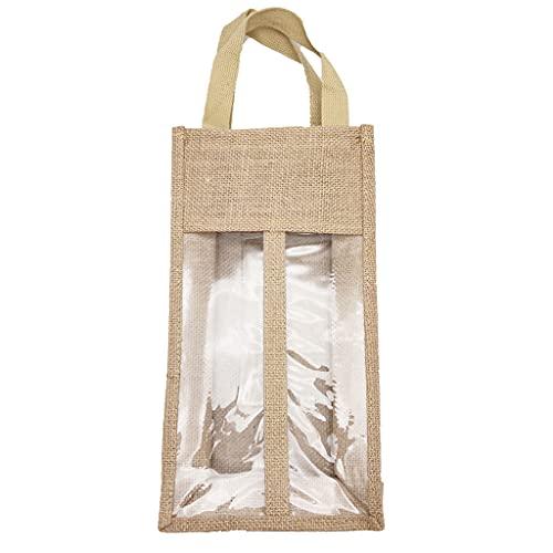 MYBOON Portador de Vino de Yute Bolsas de Asas Reutilizables de arpillera Ventana Transparente con Asas Bolsa de Regalo