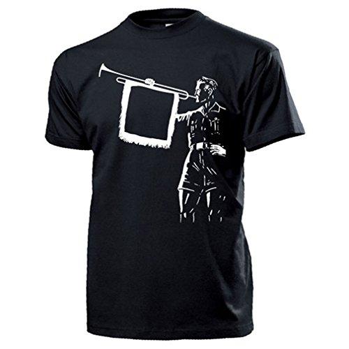 Fanfarenspieler Tropeter Landsknecht Spielmannzug Trompete T Shirt #17322, Farbe:Schwarz, Größe:Herren XL