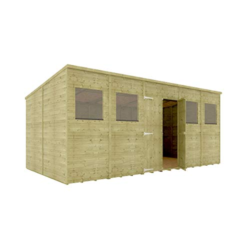 16 x 8 Pressure Treated Hobbyist Pent Shed Tongue & Groove Shiplap Cladding Construction Central Door OSB Floor Wooden Garden Shed 4.87m x 2.43m
