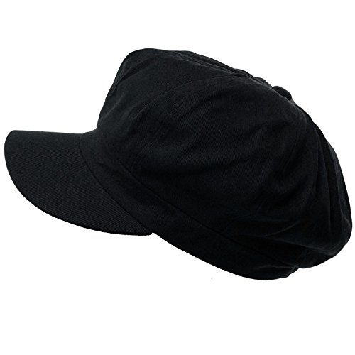 Summer 100% Cotton Plain Blank 8 Panel Newsboy Gatsby Apple Cabbie Cap Hat Black