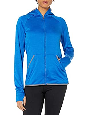 Hanes Women's Sport Performance Fleece Full Zip Hoodie, Awesome Blue Heather/Dada Grey Binding, S