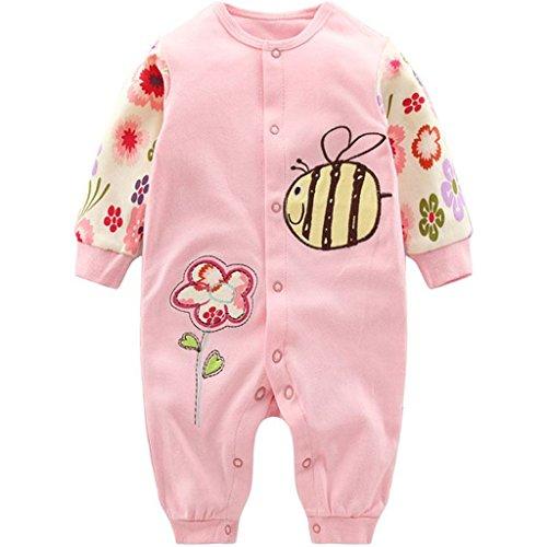 Neugeborene Mädchen Strampler Baby Spielanzug Schlafanzug Säugling Baumwolle Overalls, 0-3 Monate