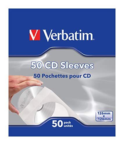 Verbatim CD-Umschläge - verschließbare Papierhüllen für CD, DVD und Blu-Ray mit transparentem Sichtfenster, 50 Stück, weiß