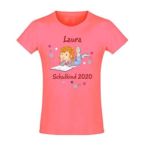 Mein Zwergenland T-Shirt tailliert Mädchen Schulanfang Schulkind 2020 Mädchen mit Buch, Coral Gr. 10 Jahre (130-140)