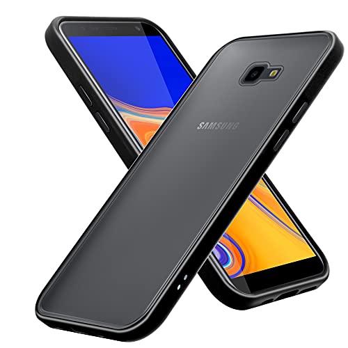 Cadorabo Hülle kompatibel mit Samsung Galaxy J4 Plus / J4 Prime / J4 CORE in Matt Schwarz - Handyhülle mit TPU Silikon Innenseite & Matter Kunststoff Rückseite - Schutzhülle Hybrid Hardcase