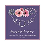 SOLINFOR 60th Birthday Gifts for Women - Sterling Silver Necklace with Gift Wrapping, Card - Six Circle for Her 6 Decade - 60 Years Old Jewelry Gift Idea