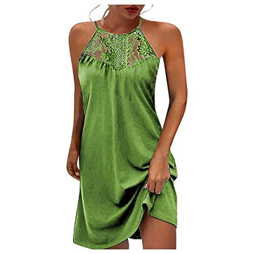 Neckholder Kleid Boho Damen Neckholder Kleid Kurz Sexy Ärmellos Kleid Damen Sommerkleid,Lace Sleeveless Hollow Boho Kleid Damen Kurz Freizeitkleid Rundhals Daily Party Beach Mini Dress