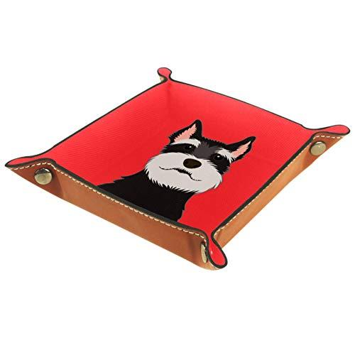 Bandeja de cuero para joyería Perro Schnauzer de dibujos animados Caja de almacenamiento Bandeja pequeña para collares Anillos y pendientes para mujer 16x16cm
