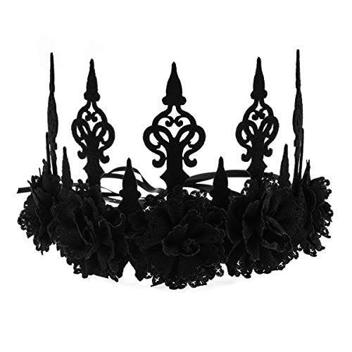 Love Sweety Halloween Vintage Crown Rose Headband Gothic Floral Headpiece (A Black)
