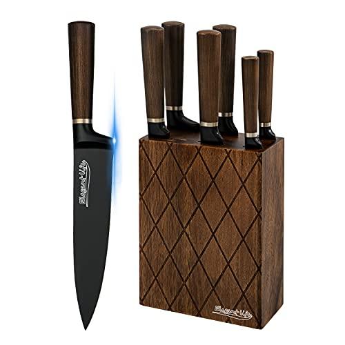 Knife Set, Elegant Life 7-Piece Kitchen Knife Set with Block Wooden, Includes Chef Knife, Bread Knife, Santoku Knife, Slicer Knife, Utility Knife, Paring Knife, German Stainless Steel, Black
