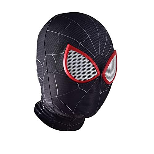 LQ-LIMAO Máscaras De Spiderman Capucha Cosplay Lentes Licra Casco Niños Cara Completa Sombreros Adolescentes Accesorios Mascarada Fiesta Temática Vestir Cubrir,Black-Kids