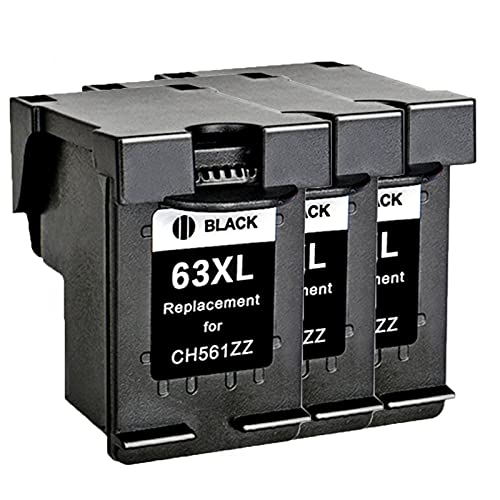 AZXC Reemplazo de Cartucho de Tinta Compatible para HP 63XL Trabajo para 2130 3630 3830 4520 4650 3632 Impresora, Toner Trabajo de Alto Rendimiento con Chip 3black