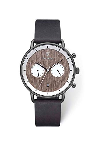 KERBHOLZ Holzuhr – Elements Collection Herbert Herren Multifunktions Uhr analog, Naturholz Ziffernblatt, echtes Lederarmband, Ø 42mm, Greywood Black Midnight Black