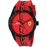 Ferrari Men's Quartz Watch with Silicone Strap, Red, 20 (Model: 0830617)