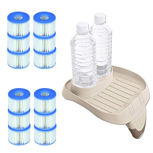 Intex PureSpa Attachable Cup Holder and Refreshment Tray with 12 S1 Pool Filters