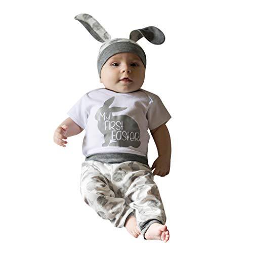 cover Baby Bekleidungsset Mädchen Jungen Hase Strampler + Hosen + Hut Outfit für Ostern (Grau, 3-6 Monate)