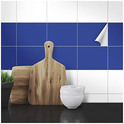 Wandkings Fliesenaufkleber - Wähle eine Farbe & Größe - Blau Seidenmatt - 15 x 20 cm - 20 Stück für Fliesen in Küche, Bad & mehr