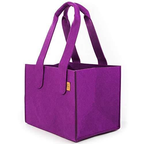 Sty-macher designer vilten tas maat L | paars | Nieuw model 2019 | haardhouttas | boodschappentas | draagtas | boodschappenmand | shopper | haardhout | vilt | afmetingen 40 x 30 x 32 (violet)