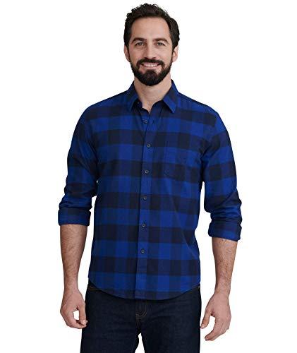 UNTUCKit Gruner Vetliner - Untucked Shirt for Men Long Sleeve, Navy & Blue Year-Round Buffalo Plaid Flannel, X-Large Regular Fit