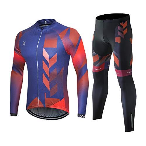 Xtextile - Conjunto de camiseta de ciclismo para hombre con cremallera completa, manga larga y camisa de ciclismo acolchada 4D Coolmax, M, Juego de camiseta y pantalones de ciclismo de color azul degradado (manga larga)