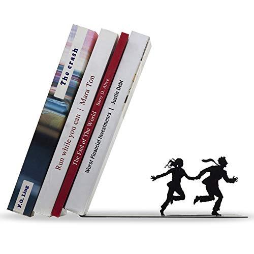 Artori Design « fugue » | Serre-livres en métal noir | Livres tombant sur un couple qui coure | Cadeau romantique