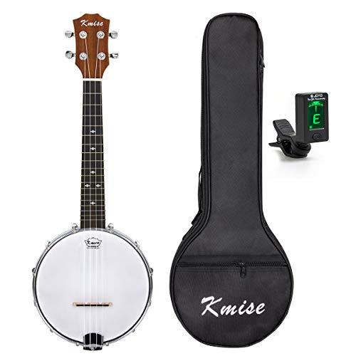 Kmise UV10406BL Banjo-Ukulele mit 4 Saiten, Banjo-Ukulele, Uke, Konzert, 58,6 cm, Sapele mit Taschenstimmgerät