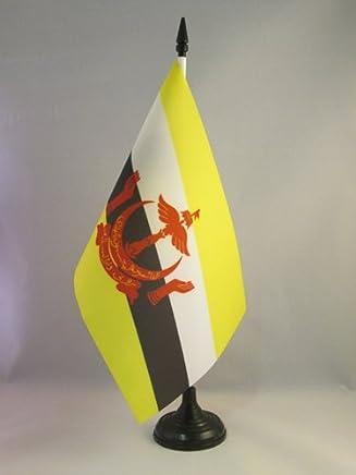 AZ FLAG Brunei 桌旗 5 英寸 x 8 英寸 - 布鲁尼亚台旗 21 x 14 厘米 - 黑色塑料棒底座