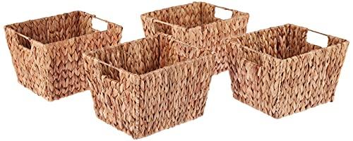 Trademark Innovations Hyacinth Storage Basket with Handles, Rectangular (Set of 4, 11.5 )