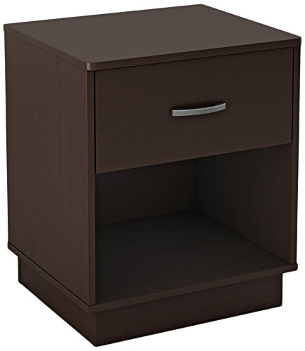 South Shore Logik 1-Drawer Nightstand, Chocolate with Metal Handle