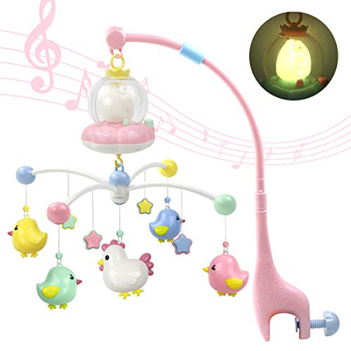 MARUMINE Baby Musical Crib Mobile with Night Lights and Music, Hanging Rotating Rattles, Multifunctional Music Box, Toy for Newborn 0-24 Months Infant Boys Girls Sleep (Pink)