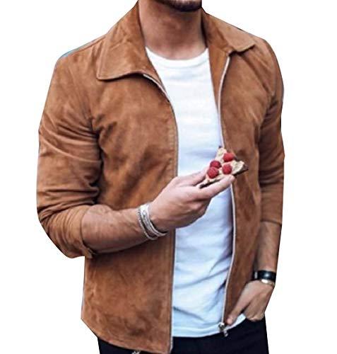 Herren Umlegekragen Original Fit Zip Veloursleder Parka Jacken Mantel Männer Fiesta Kleidung Fashion (Color : Khaki, Size : M)