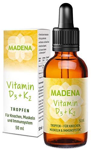 MADENA Vitamin D3 und K2 Menachinon all-trans MK-7, Tropfen hochdosiert, 50ml in MCT Öl, hohe Bioverfügbarkeit, vegan ohne Zusätze