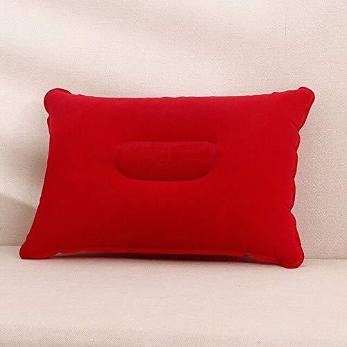 Conveniente Ultraligero Inflable PVC Nylon Almohada de Aire Cojín para Dormir Viaje Dormitorio Senderismo Playa Coche Avión Soporte para reposacabezas - Rojo